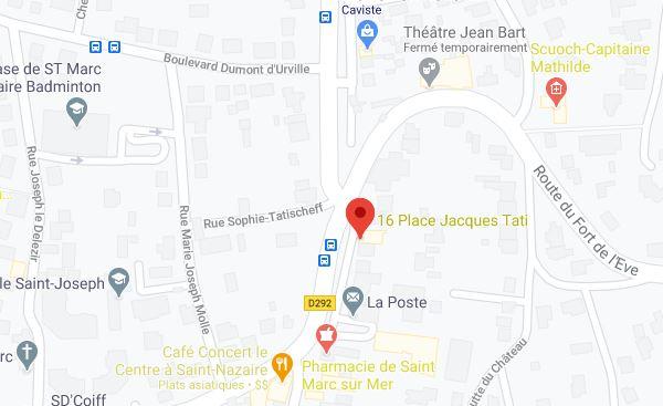 Médecine chinoise plan d'accès 16 bis place Jacques tati 44600 Saint-Marc-Sur-Mer